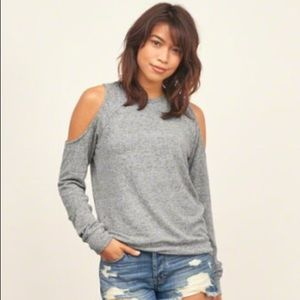 Abercrombie and Fitch Blue Cold Shoulder Sweater